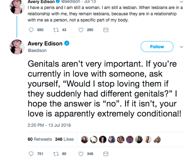 Avery Edison shaming lesbians by framing same-sex attraction as problematic _conditional_ like that_s bad