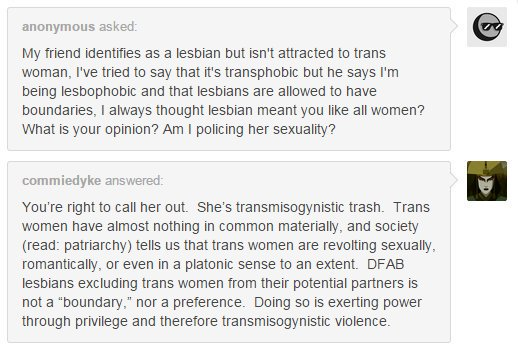 call out your lesbian friend for _transmisogynistic violence_