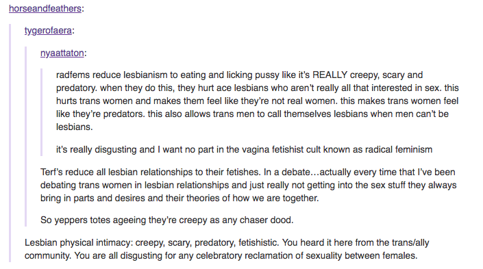 creepy, scary, predatory, fetishistic vagina cult lesbians. chasers.