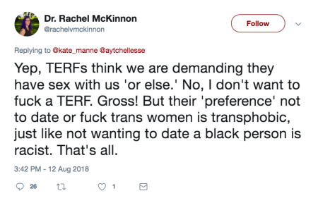funny how a terf is never someone who wont date transmen