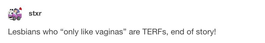 homosexual females are terfs