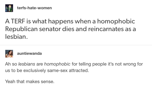 lesbians are homophobic for not wanting to sleep with men