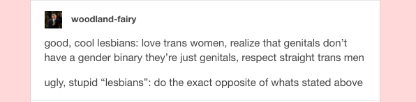 lesbians are ugly and not cool for having boundaries