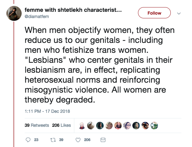 lesbians reinforce misogynistic violence and degrade women by simply existing