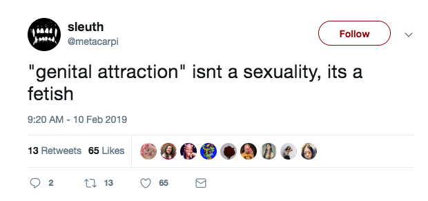 lesbians still get the message that only being attracted to females = fetish