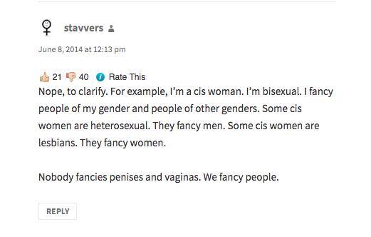 Nobody fancies penises or vaginas