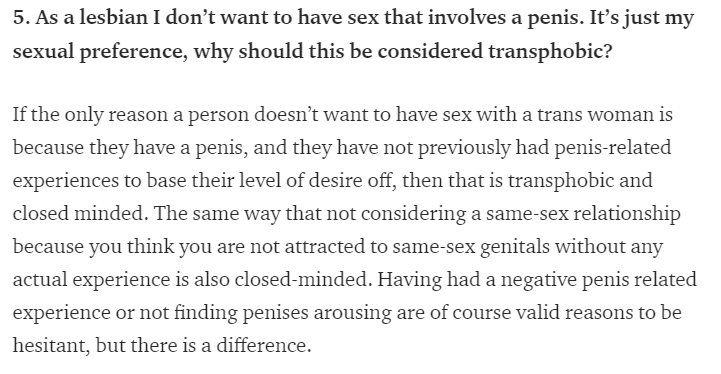 not dating a male is transphobic