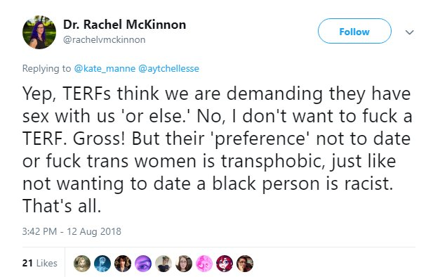 not dating males is akin to racism now