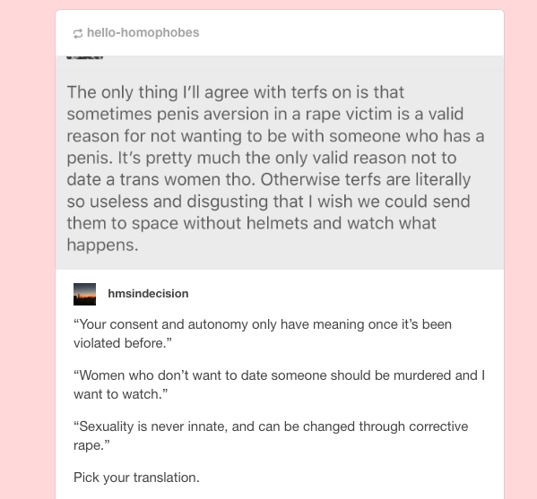 only rape is a valid excuse