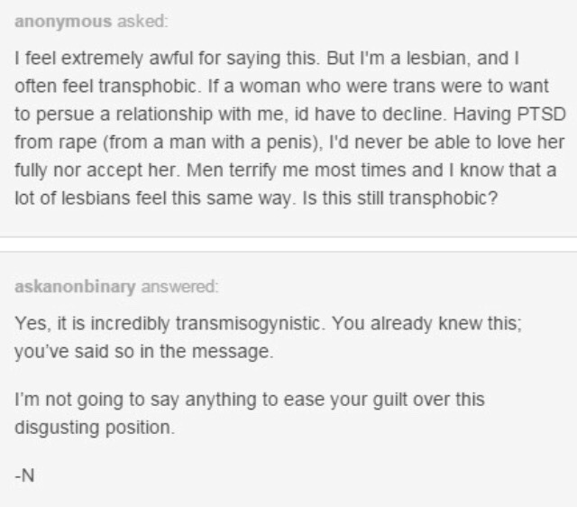 rape survivor feels guilty and is called transmisogynistic