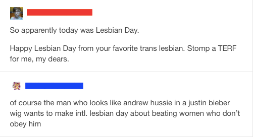 Straight man advocates _stomping TERFs_ on International Lesbian Day