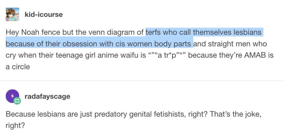 terf = lesbian (female homosexual) + genital fetishist comment