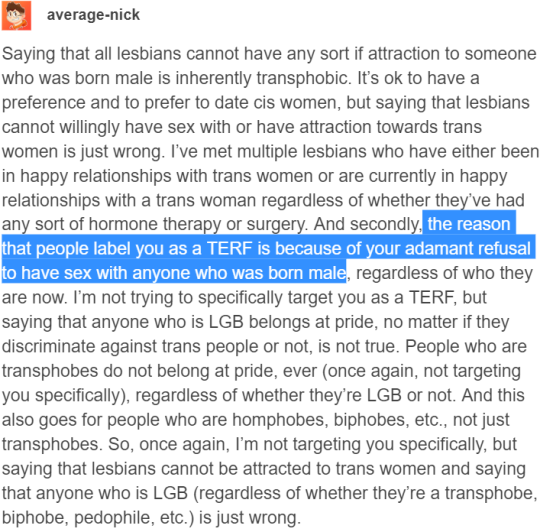 the reason you are labelled a terf is your refusal to date anyone born male