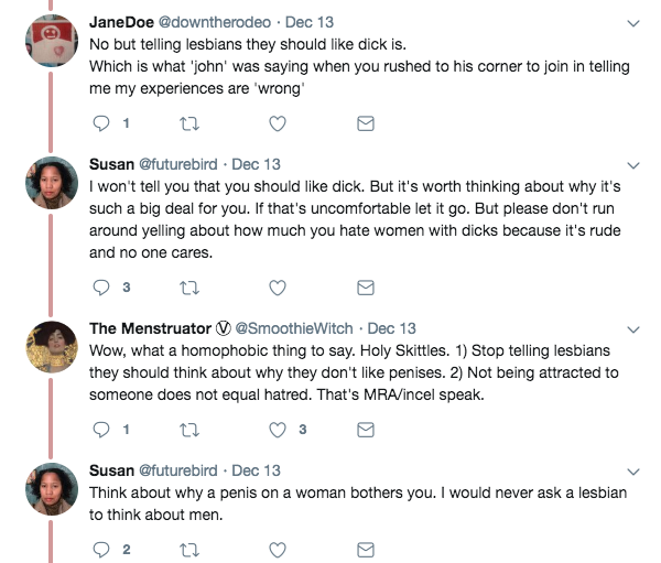 think about why a penis bothers you, lesbians.