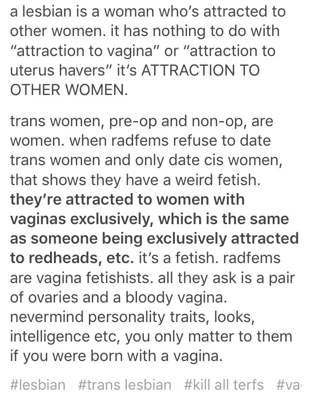 weird fetish to be a female homosexual