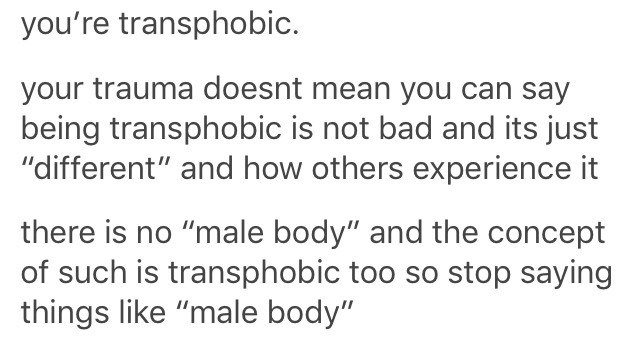 when a lesbian said trauma makes her want nothing to do with male bodies
