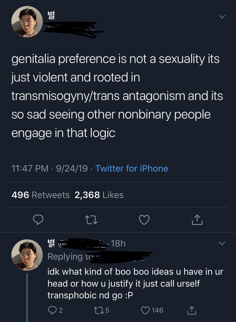 genitalia preference is violent